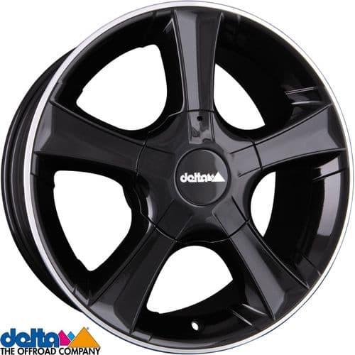 Delta4X4  Sins 18X8 5x130 +57,5 Centre bore 78.1mm Black Lip Polished to fit Fiat Ducato